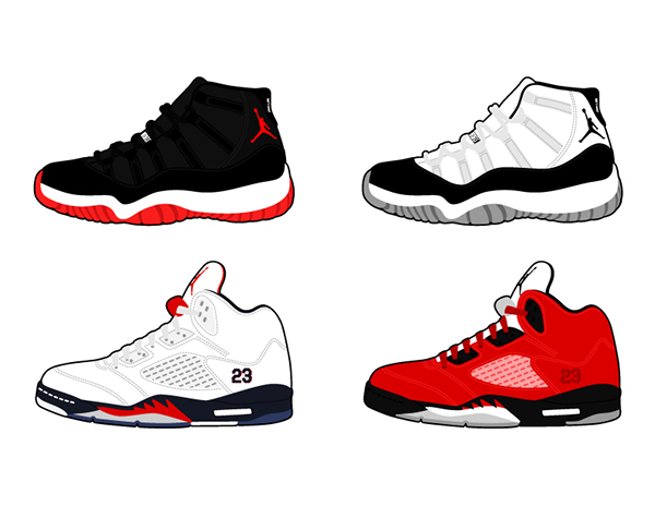 Jordan Retro Shoe Drawings Vector Air Jordan Retro Shoes