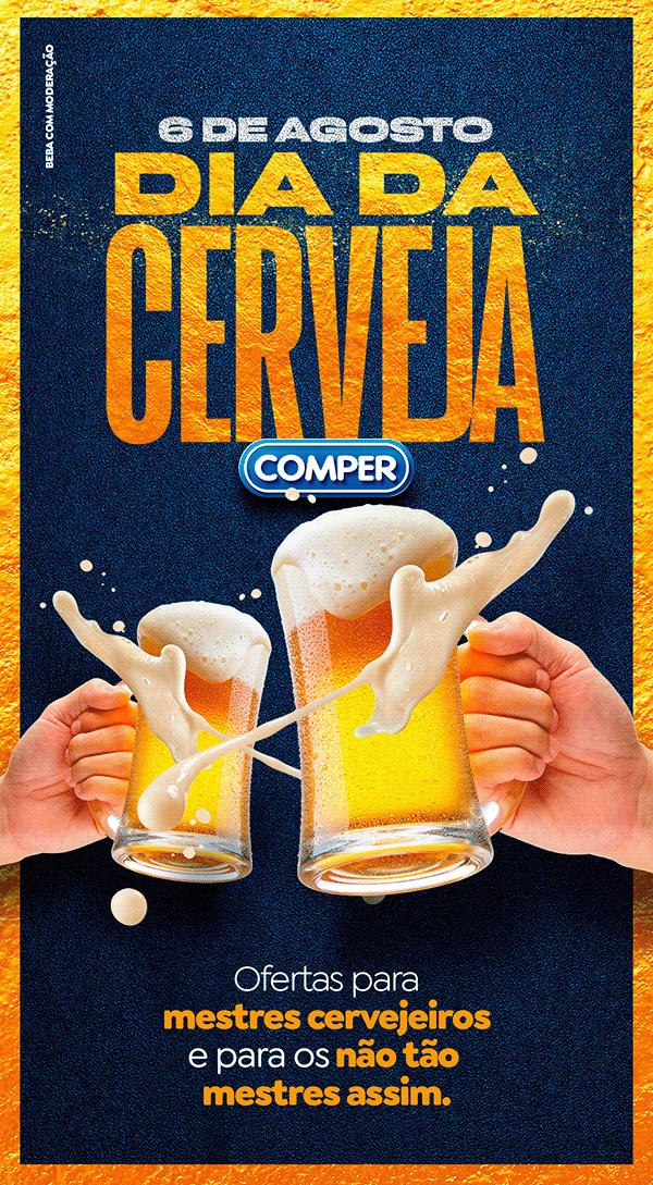 campanha Cerveja digital Direção de arte identidade visual Redes Sociais supermercado varejo