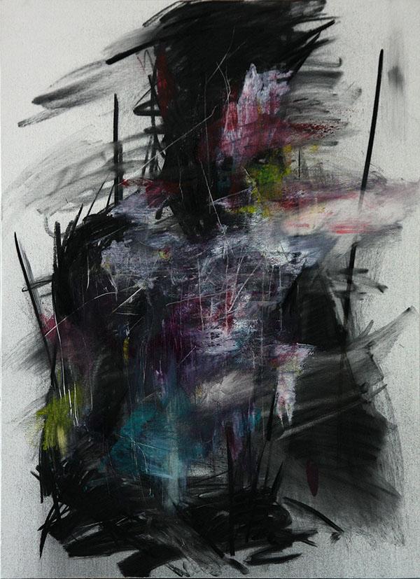 KwangHo Shin, senza titolo, olio e carboncino, 72.5 x 50 cm, 2013