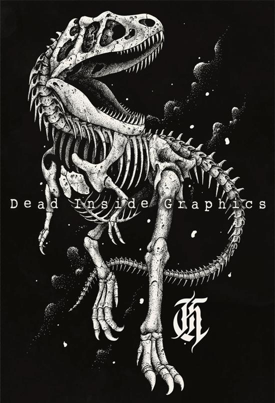 T rex skeleton drawing