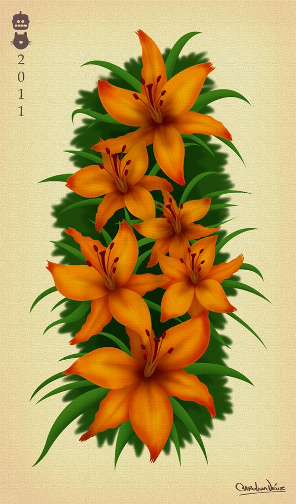 Lilies orange floral