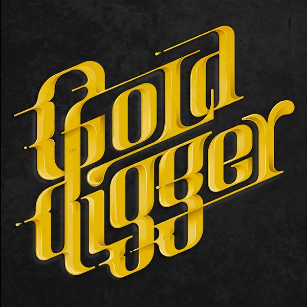 Kanye West lettering gold Digger gold digger hip hop solid metal golden type letter Volume bright 24k
