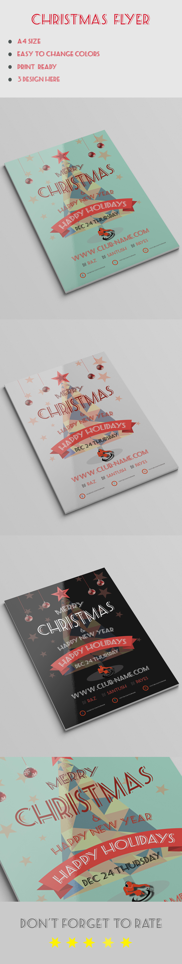 christmas flyer template on behance