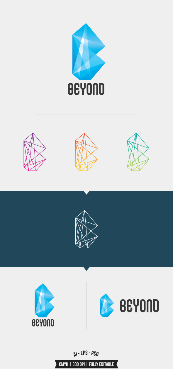 vector logo template Beyond crystal glass creative bright light blue graphic design vintage modern company