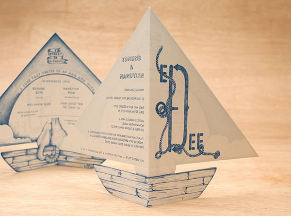 Boat Shaped Folded Invitations