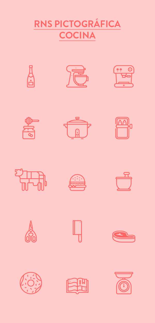 cocina kitchen Icon pictogram isotype font sardines Aid honey beer caracas venezuela RNS