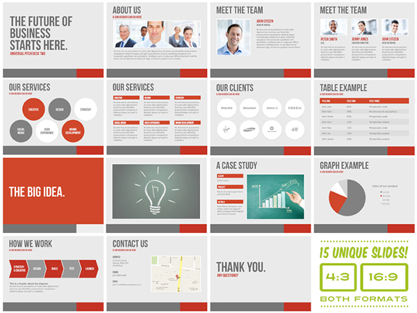universal pitch deck two powerpoint template on behance, Presentation templates