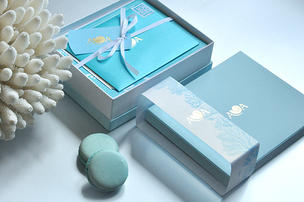 OCEAN BLUE   invitation  Stationary wedding design gift box box nautilus shell sea decor