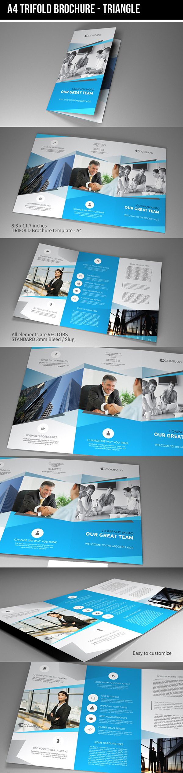 Indesign Template A4 Trifold Brochure Triangle On Behance