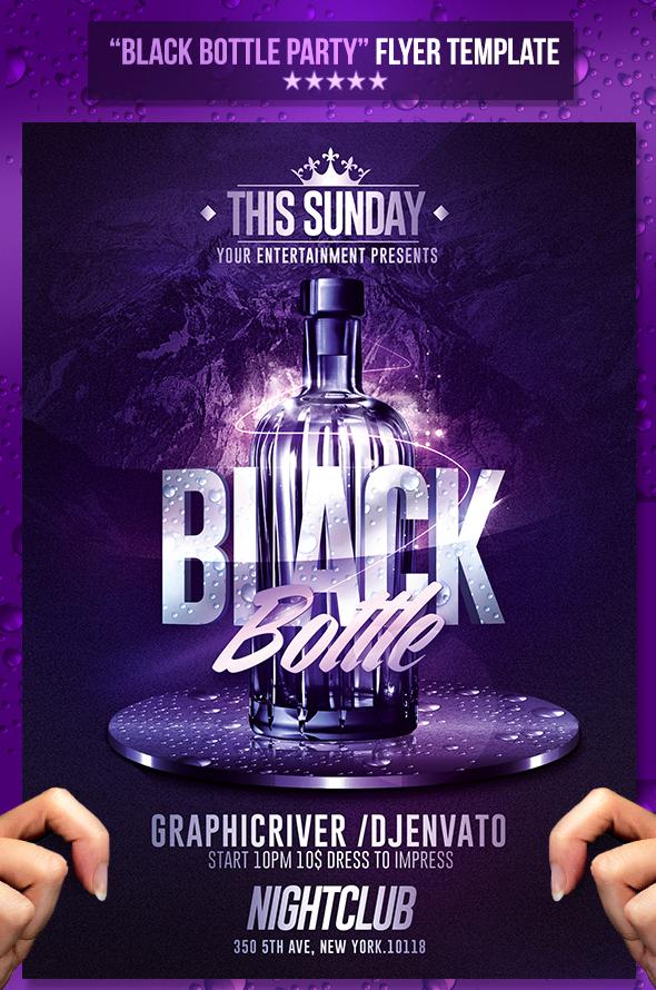 black bottle party psd flyer template on behance