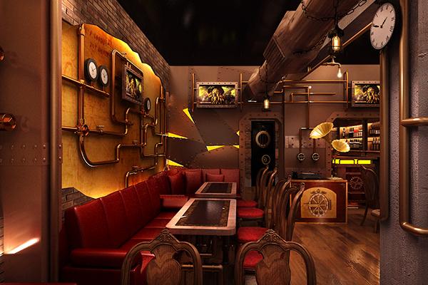 Chonas steampunk restaurant on behance - Steampunk room ideas ...