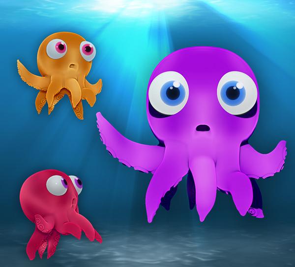 3d Octopus Cartoon Character Design On Behance