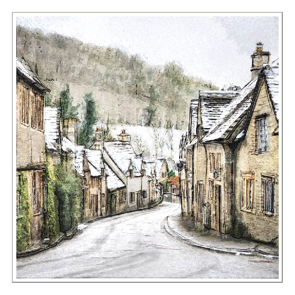 Cotswolds Watercolour Christmas Card On Behance