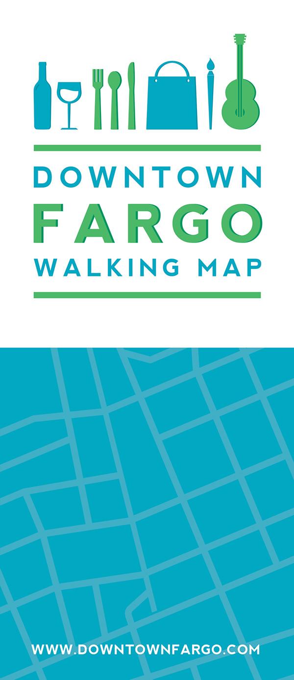 Downtown Fargo Walking Map on Pantone Canvas Gallery