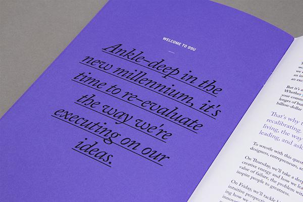 99U conference materials card sticker magazine simple badge brochure Program design Behance purple black modern