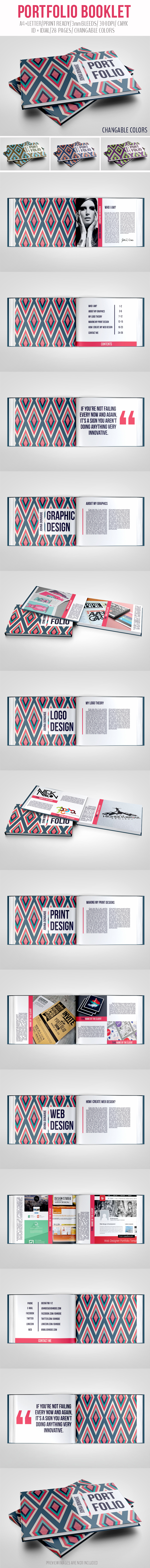 portfolio Booklet brochure template InDesign Layout pettern clean elegant personal a4 letter illustrated informational agency