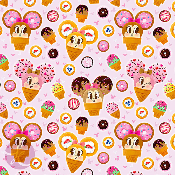 ice cream minnie mouse pattern on behance