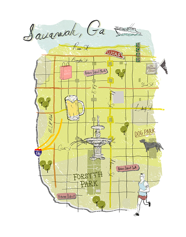 Savannah Ga Illustrated Map On Scad Portfolios
