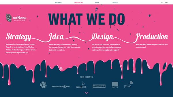 TheBrave HTML 5 scroll dark light pink Web agency portfolio design