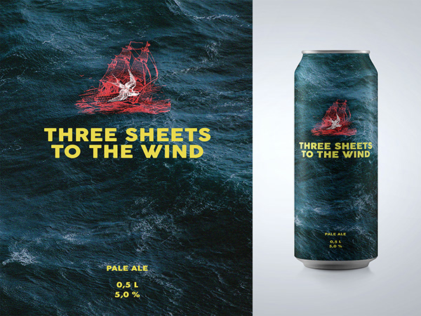 Three sheets to the wind. Beer label