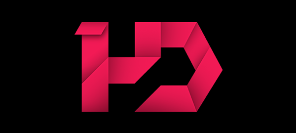... . Geometric HD letters look like they're made from glossy video tape