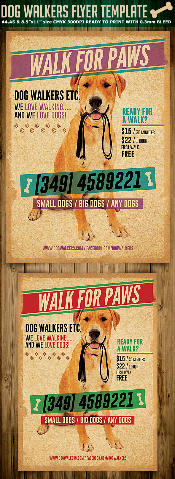 Dog walkers flyer template 2 on behance for Dog walking flyer template free