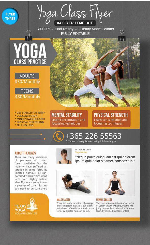 yoga class flyer template