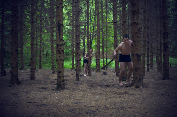 wood Hunt muscles future apocalyptic naked spear green monster concept purple dark body guys run Hunting Nikon D5000 18-55 forest fear Food