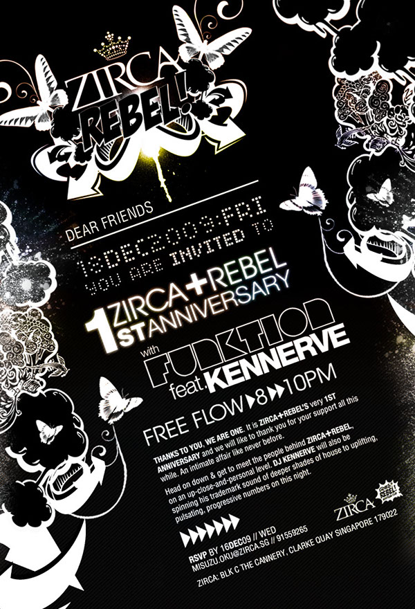 flyer rebel ZIRCA anniversary club Invitation hot stamping CANNERY