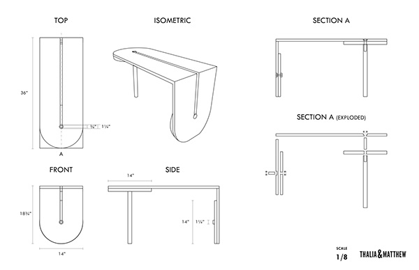 table half-table wood rota space saving space saver