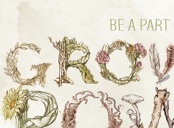 Growing Power illustrated type texture Food Movement type Hand done type organic will allen miad Lindstrom plants