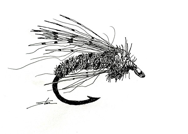 fly fishing drawing - photo #4