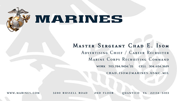 Art and design work on behance for Marine corps business cards