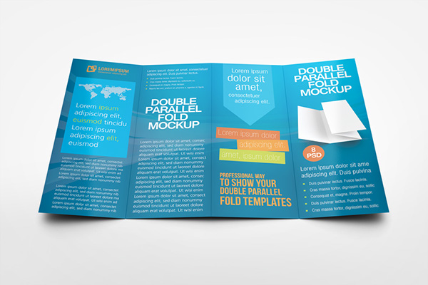 Double parallel fold brochure mockup on behance for Double gate fold brochure template