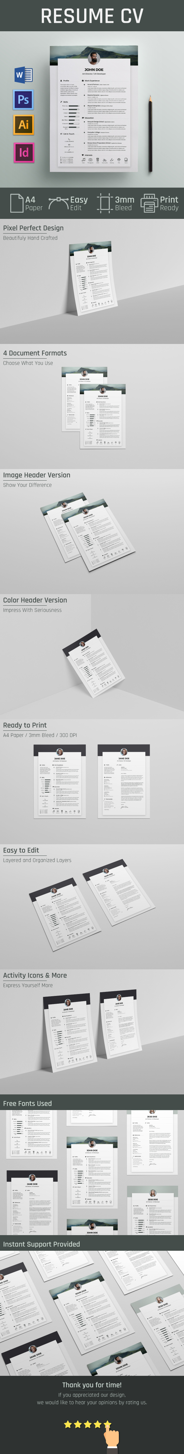 free resume    cv template on behance