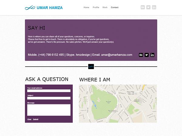 umar hamza website redesign