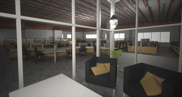 Rhino Maxwell 3D model rendering Space Planning Office Los Angeles Friant furniture call center creative environment desks modular