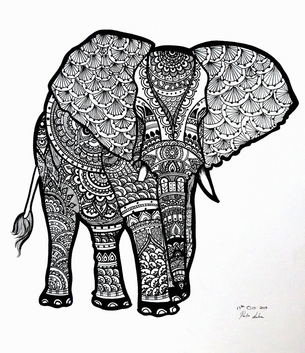 free zentangle elephant coloring pages - photo#7