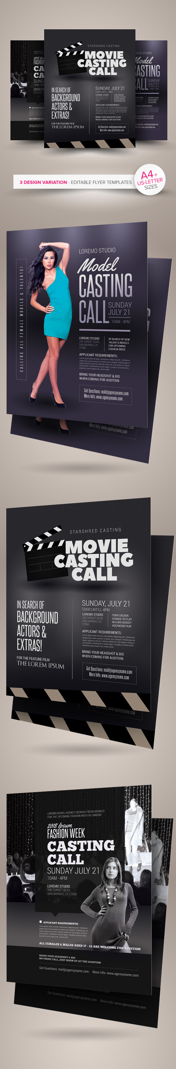 casting call flyer templates on behance casting call flyer templates are fully editable design templates created for on graphic river more info of the templates and how to get the sourcefile