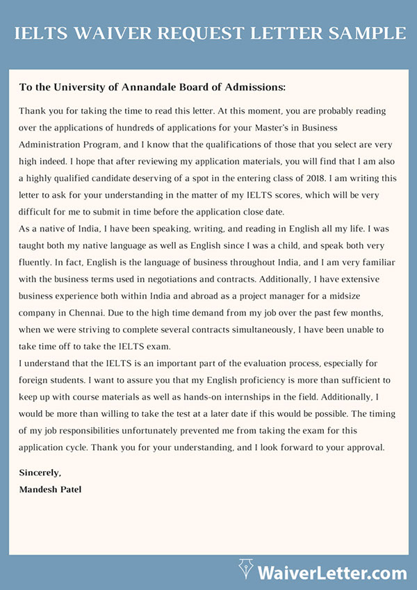 Ielts Waiver Request Letter Sample On Pantone Canvas Gallery