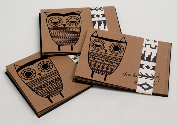 operation wildlife owls cards thank you stamp belly band
