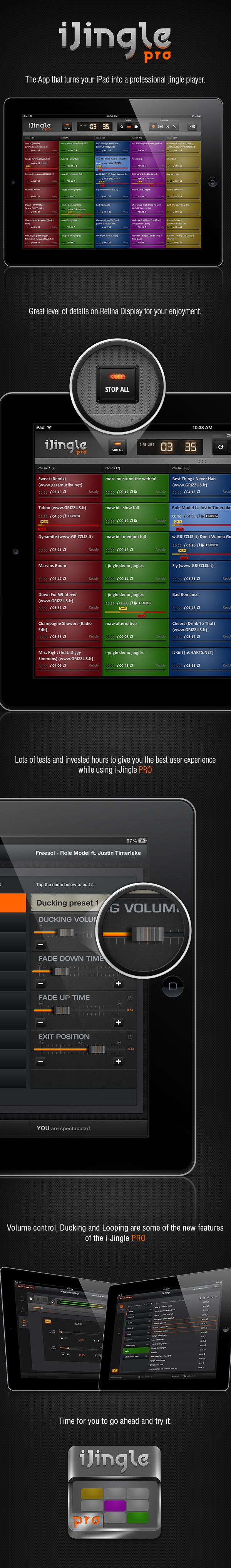 player Interface jingle UI app design Audio iPad