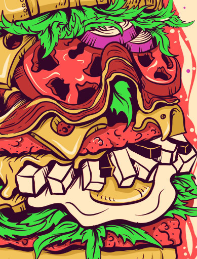 hamburger,burger,ILLUSTRATION ,metal band,metal,t-shirt