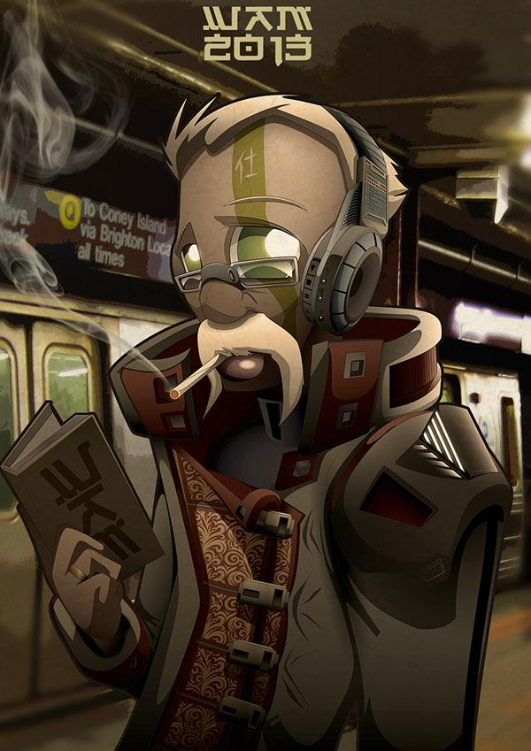 metro subway worker vector dark funky reader book cartoon
