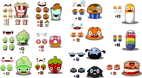 Character Design Shuffle App : Le candy face friends ios app on character design served