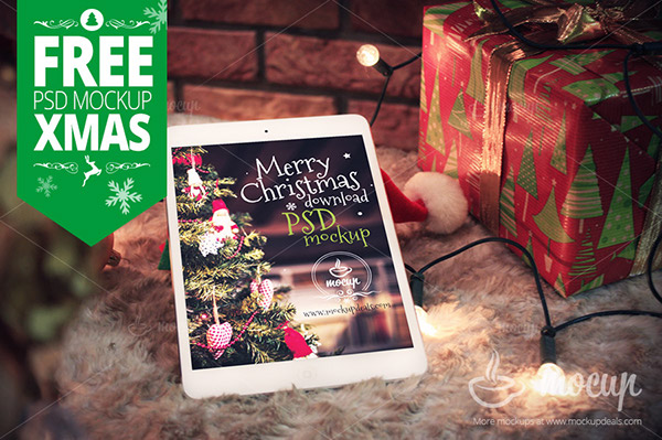 free premium photorealistic psd mockup of the white ipad mini retina called xmas ready to present your website or application design - Why Is Christmas Called Xmas