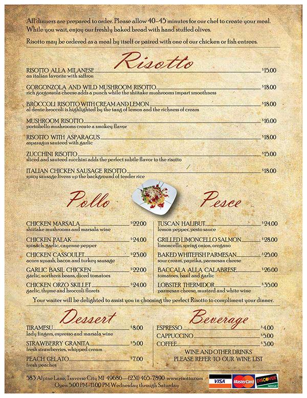 A menu for an italian restaurant on behance