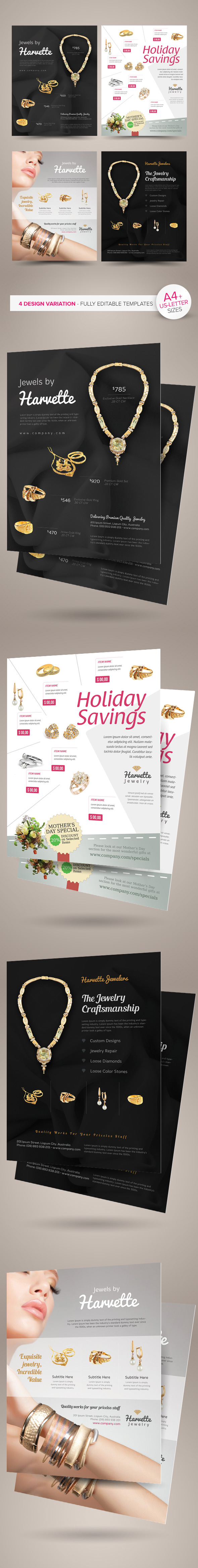 jewelry flyer or magazine ad templates on behance