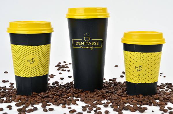 Coffee ice cream creamery identity logo yellow cup bag lid stripes dots puns