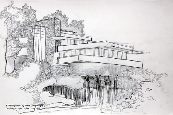 Sketch for fallingwater frank lloyd wright on behance for Frank lloyd wright stile prateria